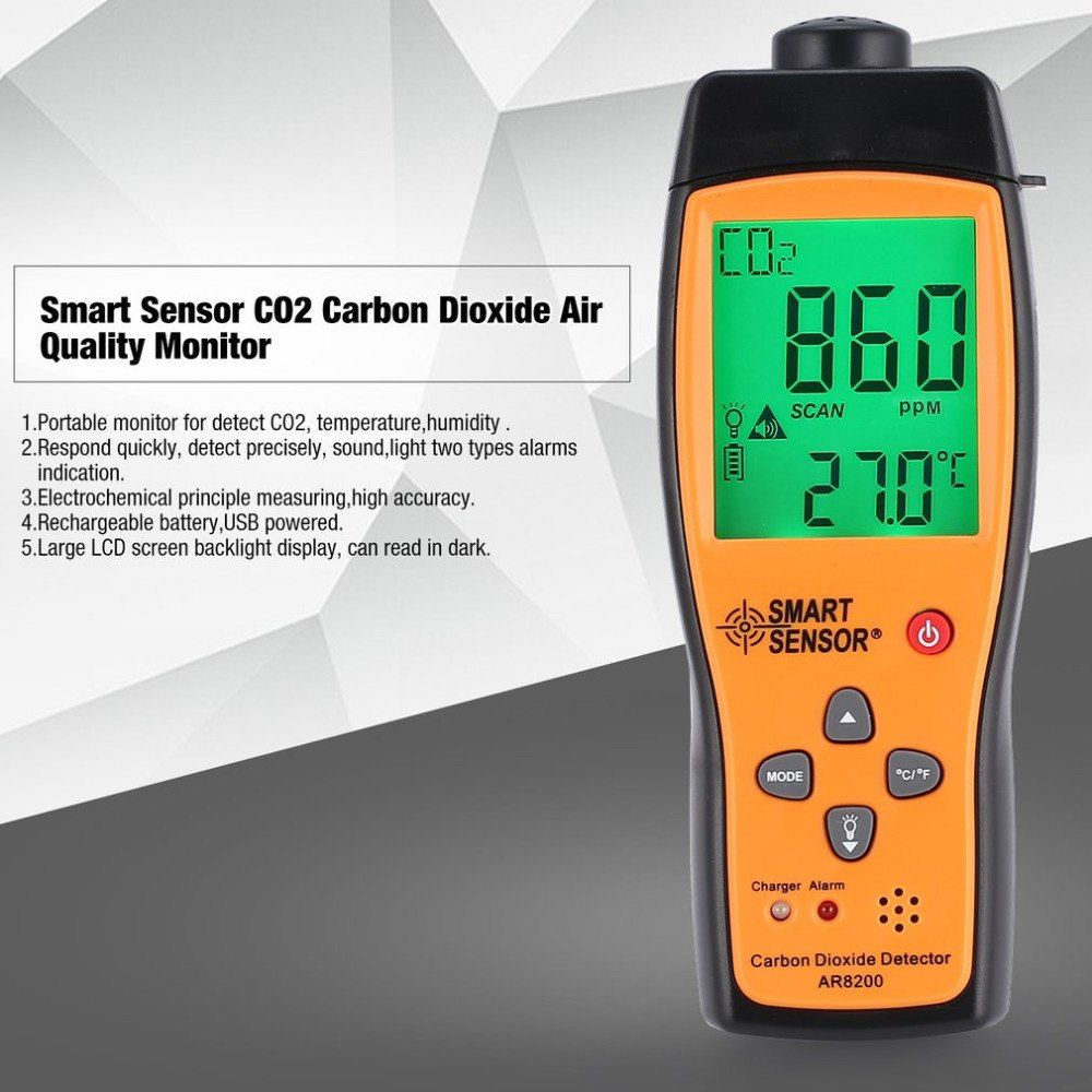 Smart Sensor AR8200 CO2 Kohlendioxid Air Qualität Monitor Analyzer Temp Temperatur Thermometer Tester Gas Detektor Meter