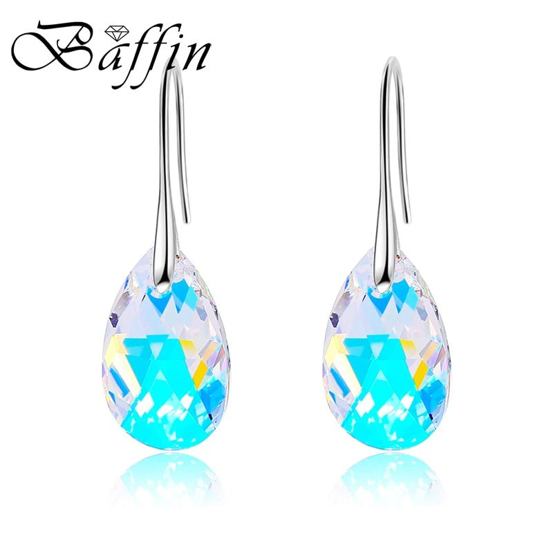 BAFFIN Water Drop Earrings Women Fashion Original Crystal From SWAROVSKI Silver Color Pendant Pendientes 2017 Christmas Gift