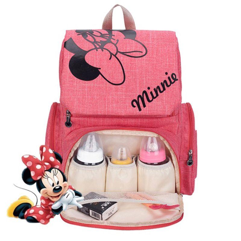 Disney Baby Diaper Bag Printed Backpack Large Capacity Children Nursing Travel Backpack Maternity Baby Care Bag Stroller Hooks