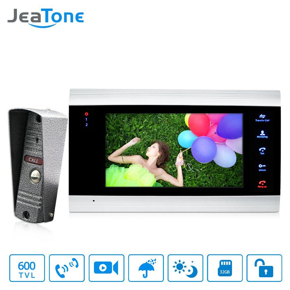 JeaTone 7 inch Video Door Phone Doorbell Intercom With 600TVL Outdoor Camera IP65 On Door Video Intercom Security System 4 Wired
