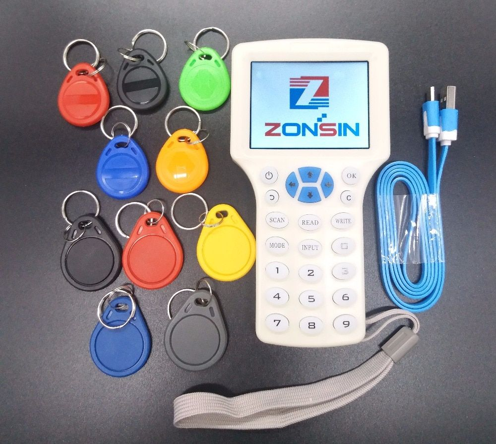 English Rfid NFC Copier Reader Writer Cloner Copy 10 Frequency Programmer + 5Pcs 125khz EM4305 Keyfobs + 5Pcs 13.56mhz UID Key