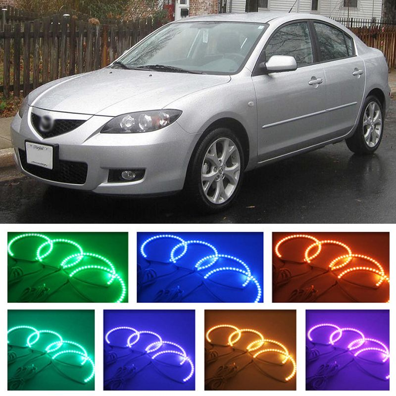 for mazda 3 2003 2004 2005 2006 2007 2008 2009 RGB LED headlight rings halo angel demon eyes with remote controller