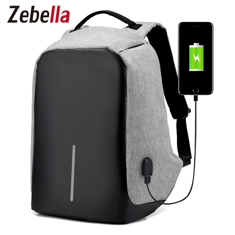Zebella Men USB Charging Backpacks Anti- theft Male Travel Bags Black 15