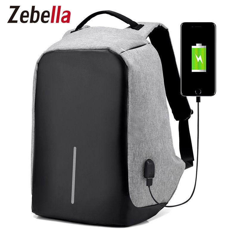Zebella Men USB Charging Backpacks Anti- theft Male Travel Bags Black 15