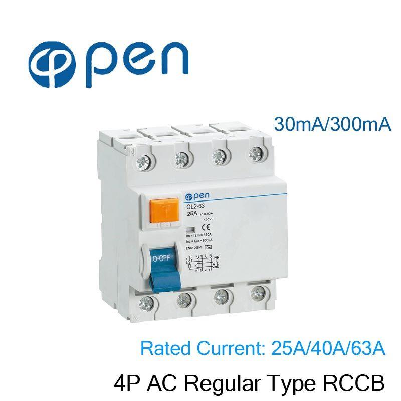 FI-SCHUTZSCHALTER OL2-63 30mA/300 mt 4 p 25A/40A/63A AC Regelmäßige Typ Fi-schutzschalter für Überlast und Kurzschluss Schutz