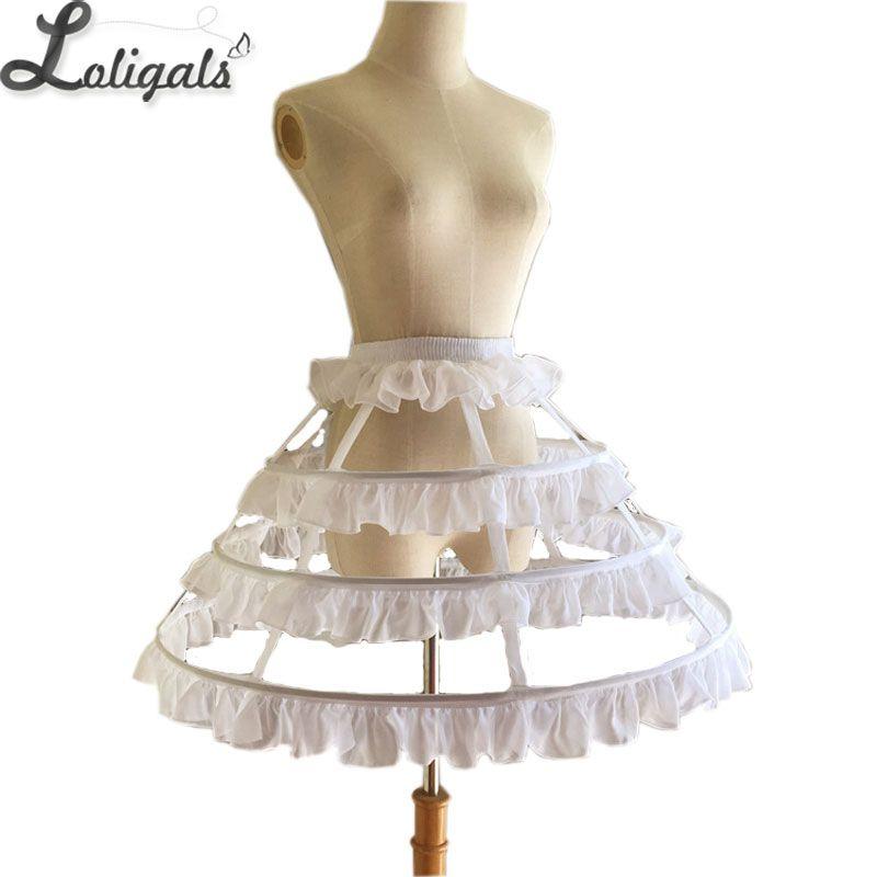 Full Circle Steel Boned Short Crinoline Birdcage Petticoat Sweet Hoop Skirt with Ruffles