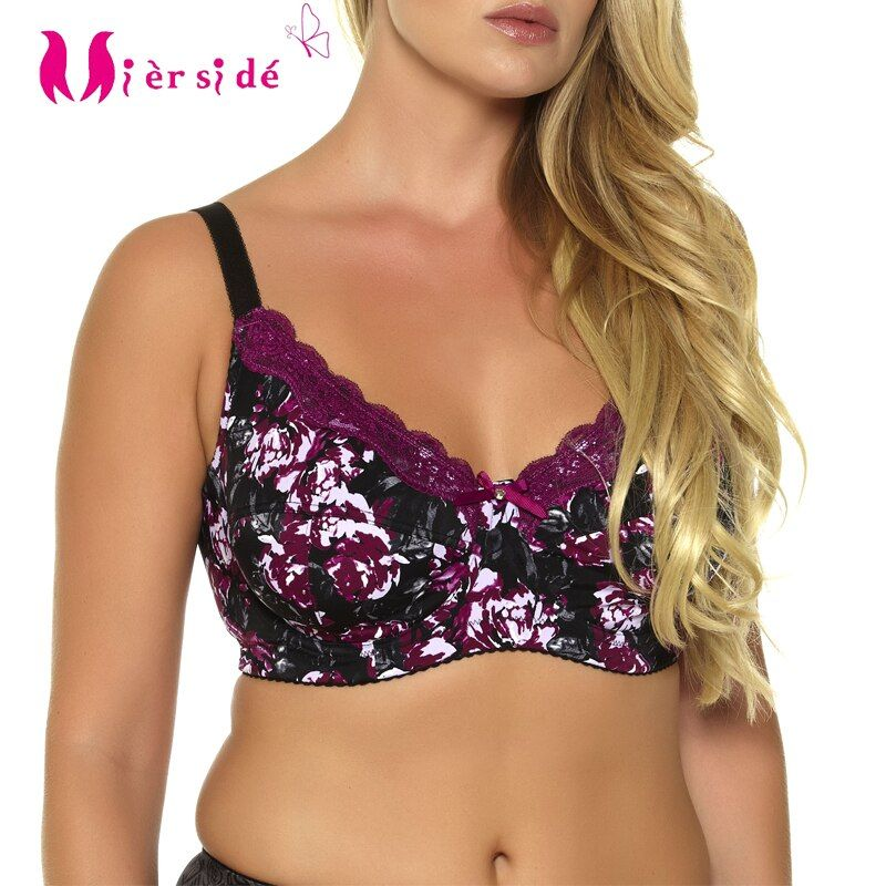 Mierside 953P 5Color Plus size Sexy Bra Printing Floral Lace Underwear for Women Everyday Bralette 34-46 C/D/DD/DDD/E/F/G