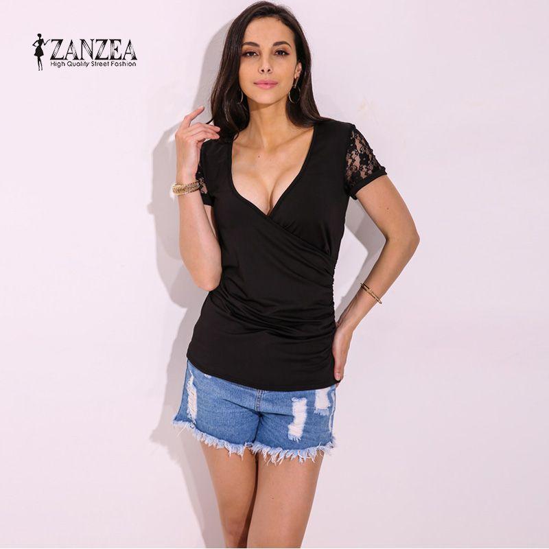 2018 ZANZEA Mujeres V Cuello Camisa de Manga Corta de Encaje de Ganchillo Floral Splice Delgado Ocasional Sólido Tops T-shirt Camiseta Más El Tamaño
