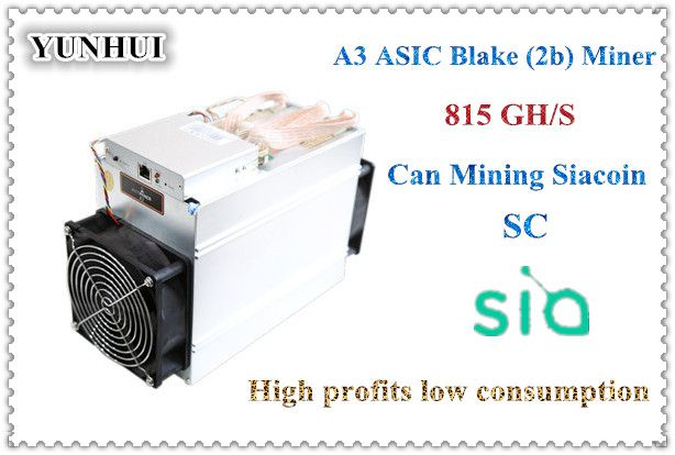 YUNHUI sale the Blake(2b) Siacoin ASIC Miner Antminer A3 815GH/s (1275W on wall) with PSU high profit from Bitmain