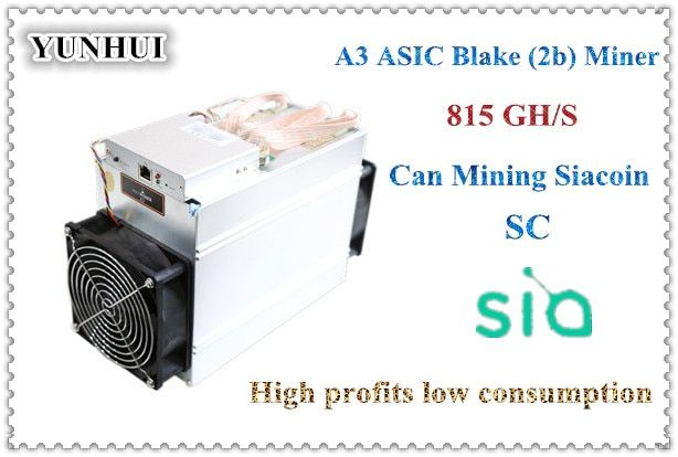 YUNHUI sale the newest Blake(2b) Siacoin ASIC Miner Antminer A3 815GH/s (1275W on wall) with PSU high profit from Bitmain