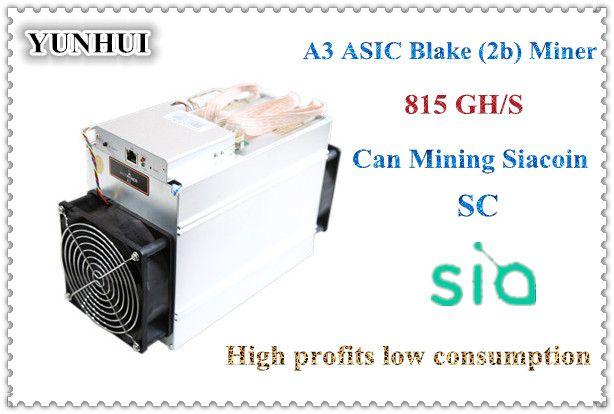 YUNHUI verkauf der neuesten Blake (2b) Siacoin ASIC Miner Antminer A3 815GH/s (1275 Watt auf wand) mit NETZTEIL hohe gewinn von Bitmain