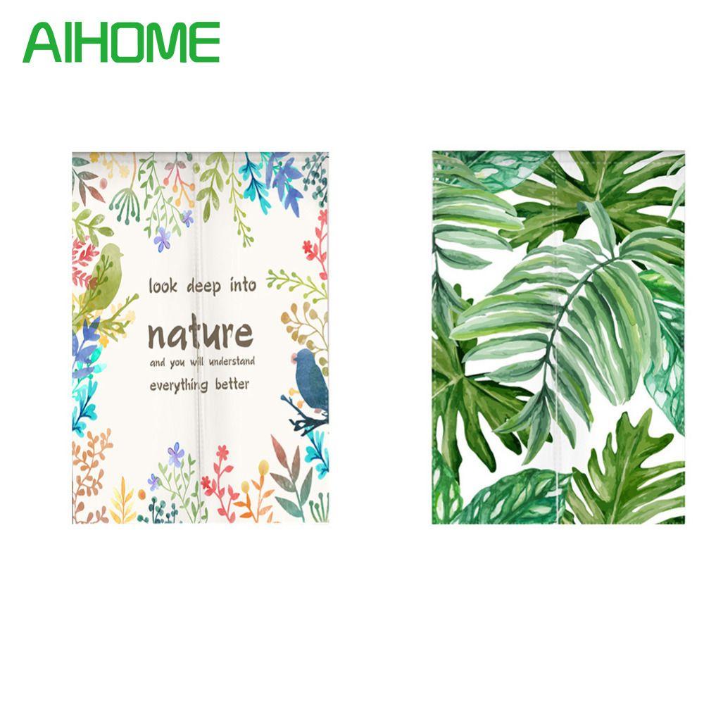 Japanischen Stil NOREN Vorhang Tropischen Pflanzen Grüne Blätter Leinwand Tür Vorhang für Kitchen Store Tapisserie 85x100/85X140/85X180 cm