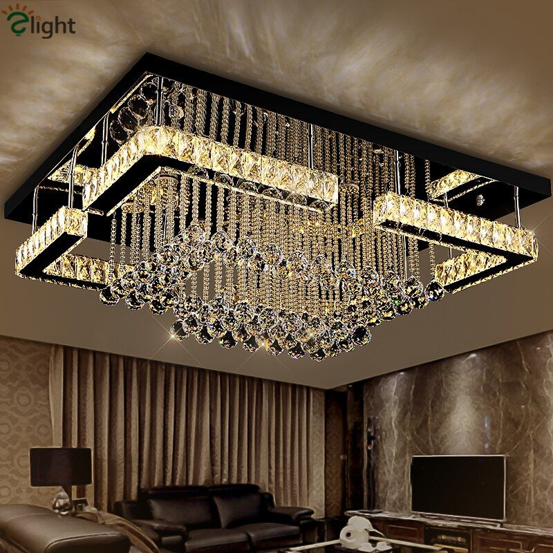 Modern Luxury Square Lustre K9 Crystal Led Chandelier Remote Control Dimmable Luminaria Ceiling Chandelier Living Room Lamparas