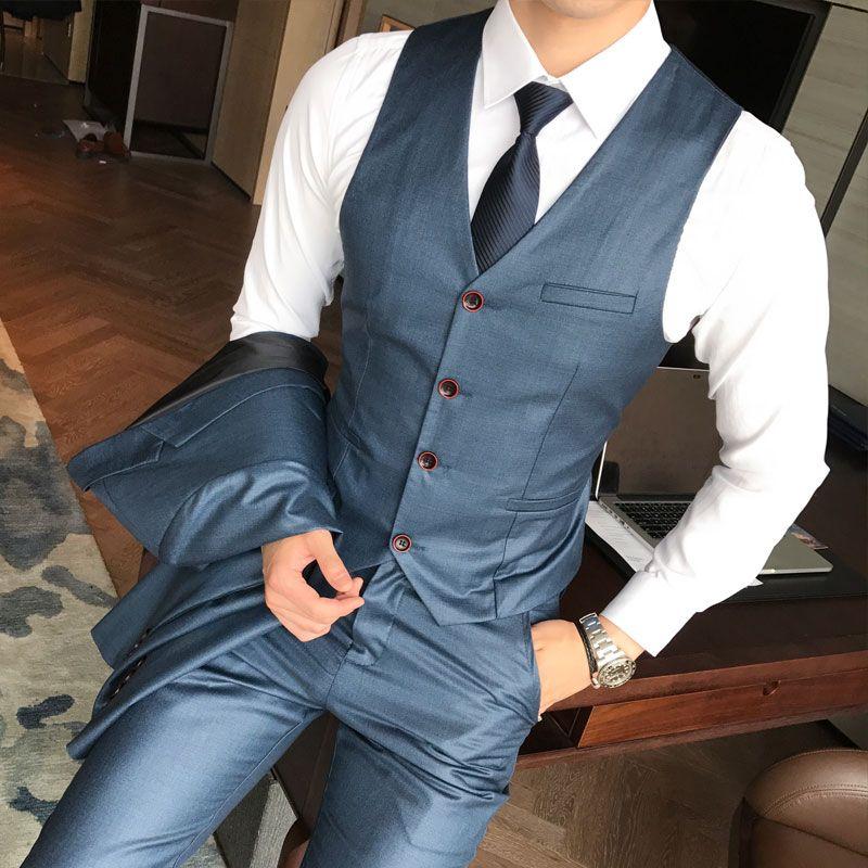 2018 Men's Suits Jackets + Pants + Vests Blue gray khaki Business Wedding Banquet men Slim Large Size 4XL 5XL Hot Sale Popular