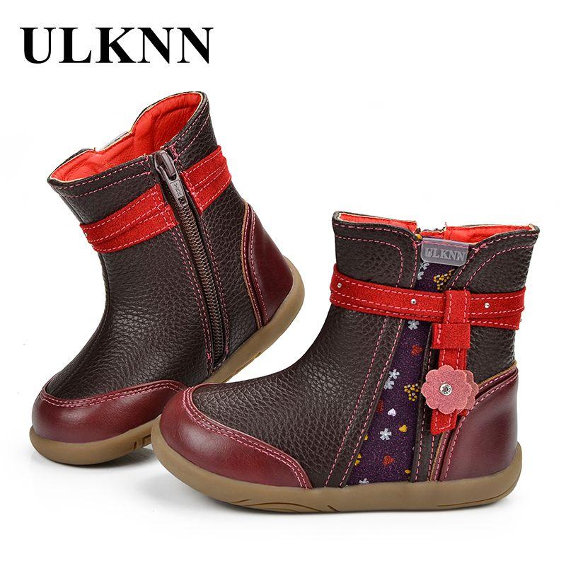 ULKNN Kids Boots Winter Shoes For Children Boots Girls Warm Genuine Leather Flower Crystal Fashion Retro Party Wedding Botas