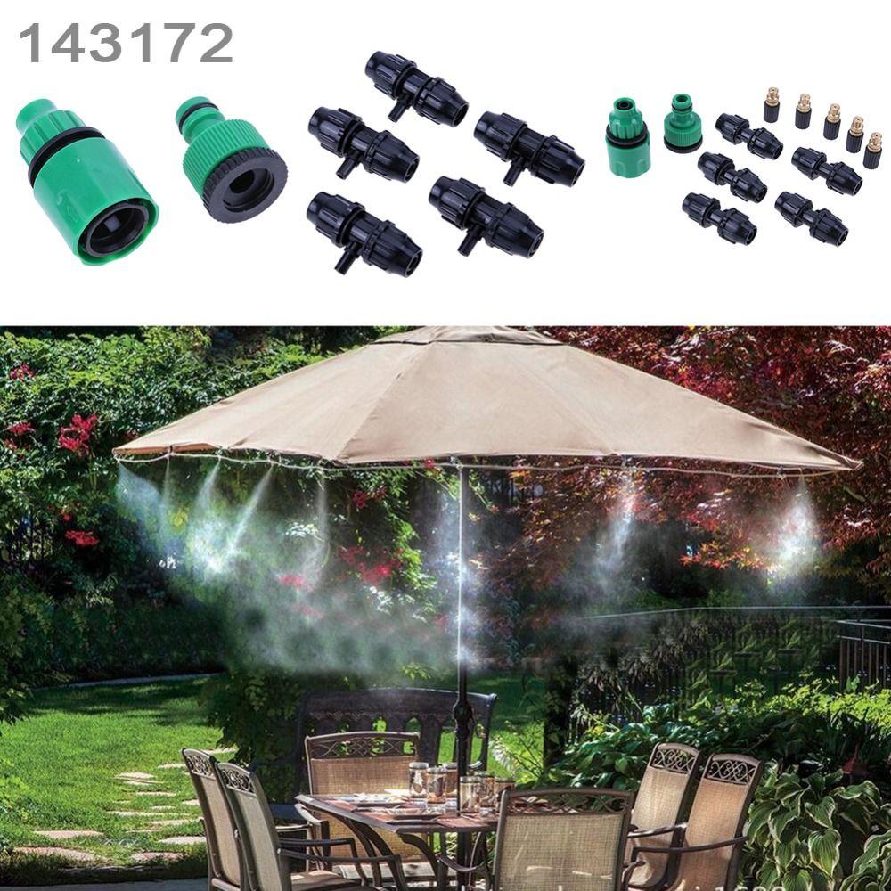 5 M tuyau 5 pièces tête de pulvérisation et Nylon fil groupé extérieur jardin brumisation système de refroidissement buse de brouillard arroseur kits d'eau système