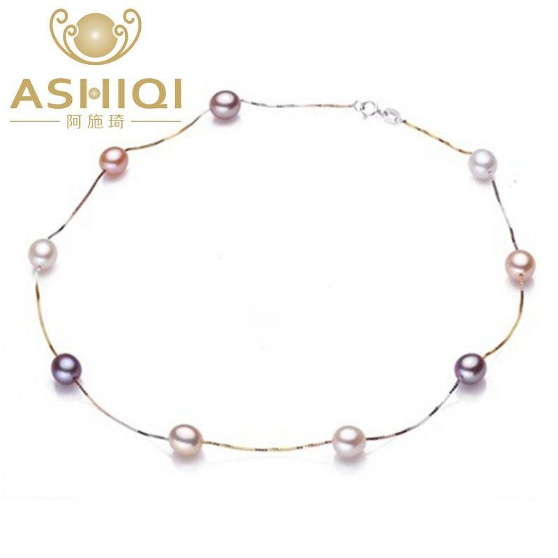 ASHIQI véritable pur 925 collier en argent Sterling chaîne 7-8mm naturel perle d'eau douce bijoux pour les femmes cadeaux