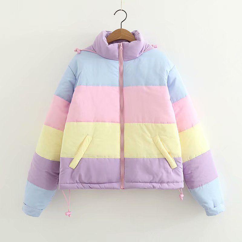 2019 Rainbow colorful Cotton Padded Parkas Women Autumn Winter Detachable hat Coat Macaron Pastel Panel Puffer Jacket Coats