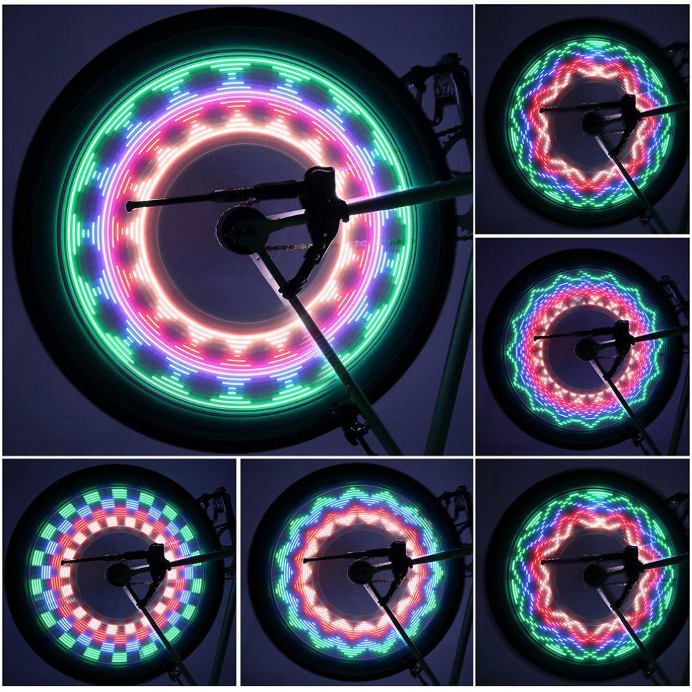 Neue Ankunft Bunte Fahrradbeleuchtung Fahrrad Radfahren Blitz-gummireifen-ventil-rad-speiche-licht 32 led-32-muster Wasserdicht Drop Verschiffen