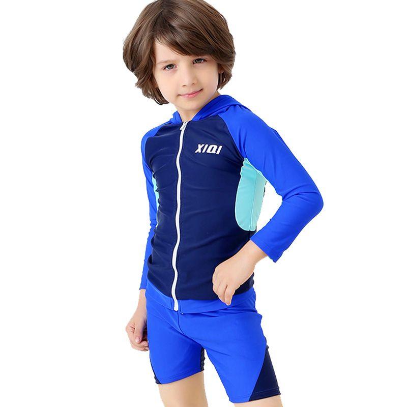 2019 Hot Enfants Maillot de Bain Garçon Surf Costume Manches Longues Sport Maillots De Compétition Garçon Plage Deux Pièces Maillot de bain BH