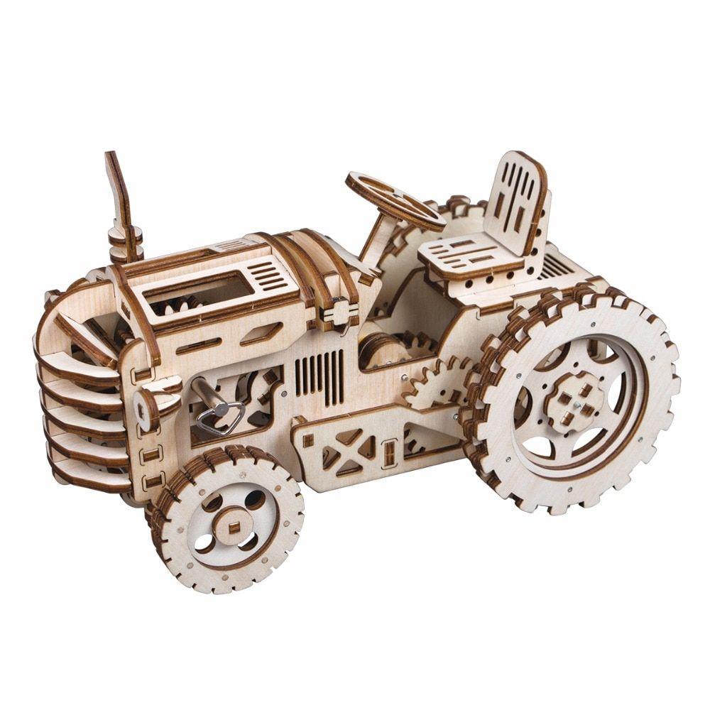 Robotime Creative DIY Gear Drive Tractor 3D Wooden Model Building Kits Toys Hobbies Gift for Children Adult LK401