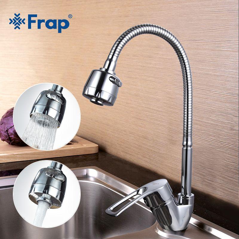 Frap одноцветное Кухня смеситель холодной и горячей гибкие Кухня коснитесь один рычаг отверстие водопроводной воды Кухня кран Torneira Cozinha f43701-b