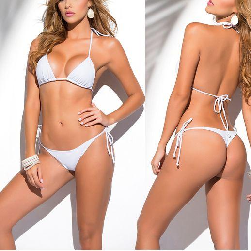 Solide Blanc Classique String Bikini Femmes maillot de Bain Summer Beach Bikinis String Sexy Femme Maillot de bain Multi Couleur Maillot de Bain 1667