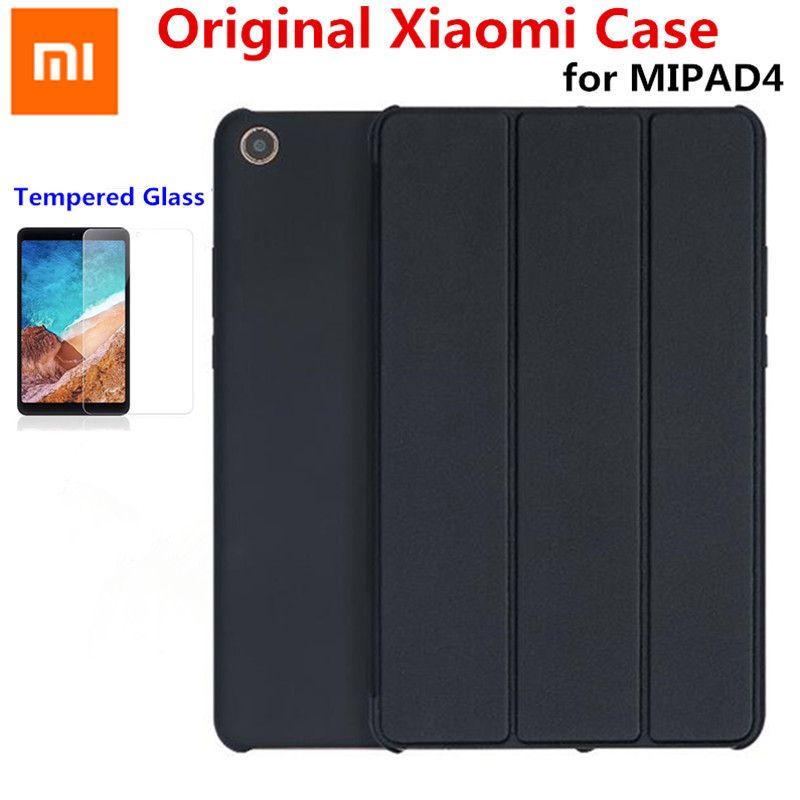 2018 Smart Original Xiaomi MiPad 4 8 mipad4 Plus 10 Case PU+PC Slim flip Auto Wake-Sleep Xiao mi pad 4 Cover+Tempered glass Film