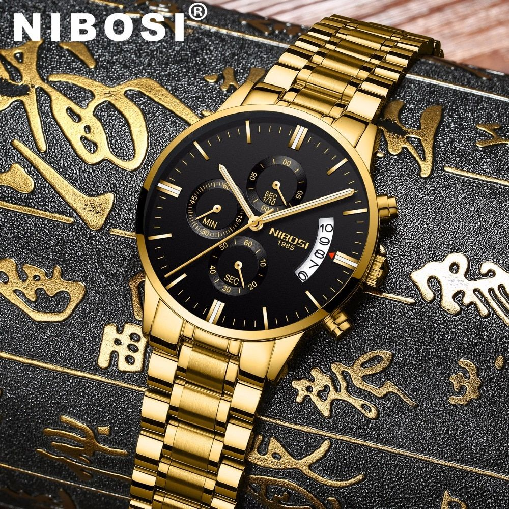 NIBOSI Waterproof Casual Watch Men Luxury Brand Quartz Military Sport Watch Leather Steel Men's Wristwatches relogio masculino