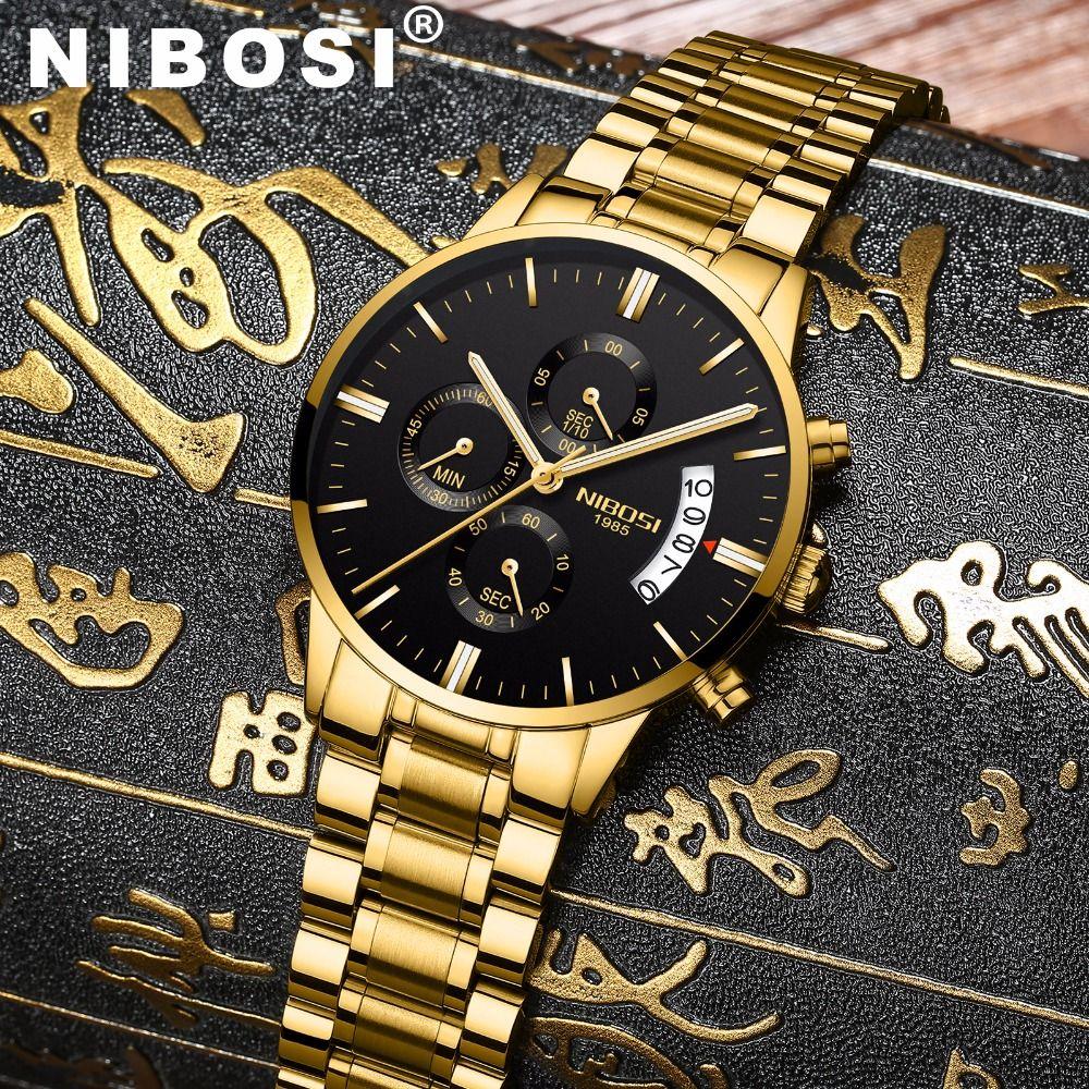 NIBOSI Waterproof Casual Watch Men Luxury Brand Quartz Military Sport Watch Leather Steel Men's Wristwatches relogio masculino
