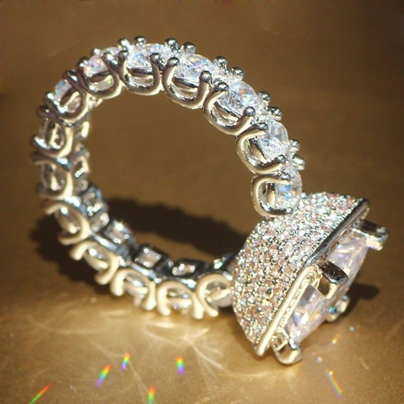 Förderung!!! Echt Solide 925 Silber Hochzeit Ringe Schmuck für Frauen Platz 3 Carat Sona CZ Diamant Engagement Ringe Zubehör