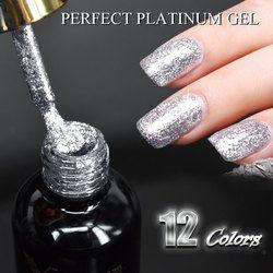 #60752 2017 New Venalisa supply nail art Venalisa 12ml 12 color supper diamond shining glitter sequin starry platinum paint gel