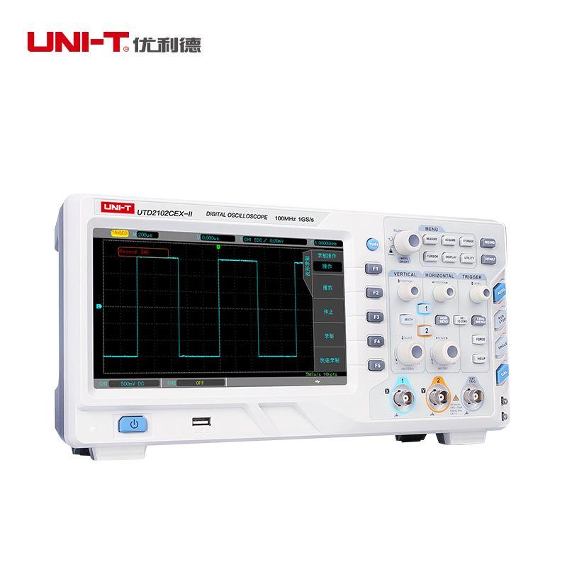 UNI T UTD2102CEX-II NEUE Digital Speicher Oszilloskop 2CH 100 MHz Bandbreite 1GS/s Scopemeter 8 zoll TFT LCD ETL zertifizierung