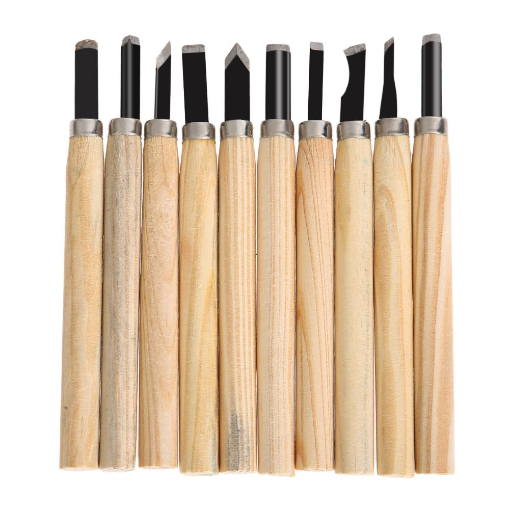 10pcs/Set Hand Wood Carving Chisels Knife Tool for Basic Woodcut Working Clay Wax DIY Tools and Detailed Woodworking Hand Tools