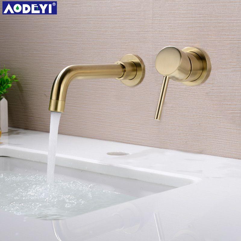 Nouveau 210 MM en laiton massif mural bassin robinet salle de bain mélangeur robinet chaud et froid 360 degrés rotation bec