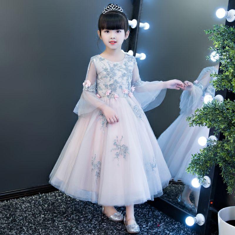 New Luxury Elegant Children Girls Princess Flowers Lace Birthday Wedding Party Ball Gown Dress Kids Teenagers Costume Long Dress