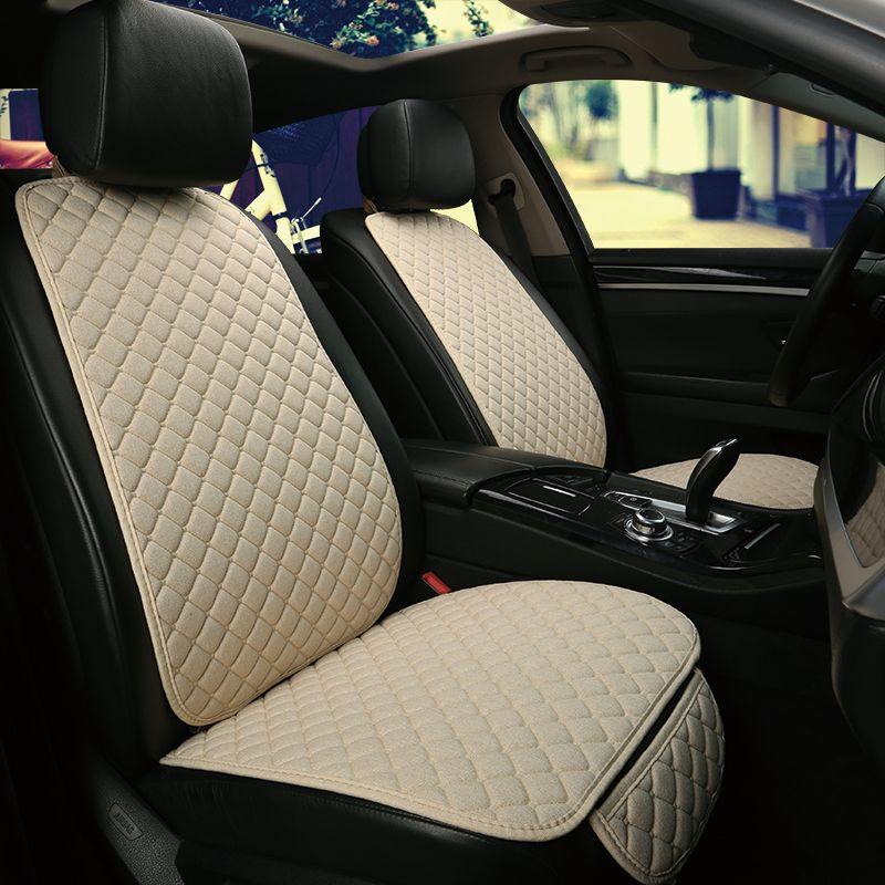 1 Seat Flax Car Seat Cover Protector Front Seat Back Cushion Pad Mat Auto Front Car Styling Automotive interior Truck Suv or Van