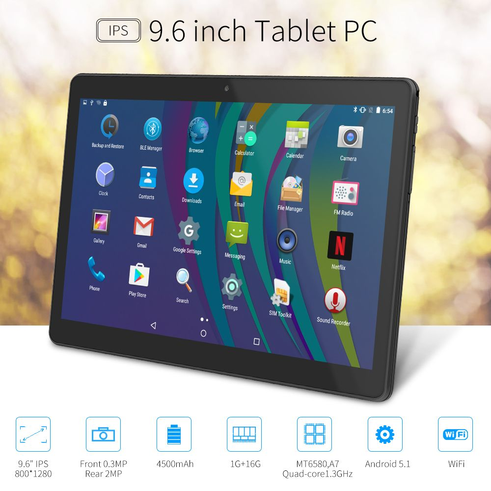 Yuntab K98 Android Tablet 1GB+16GB Quad-Core 9.6 inch IPS Screen 800*1280 Dual camera Cellphone Support 2G 3G Wifi Dual SIM Card