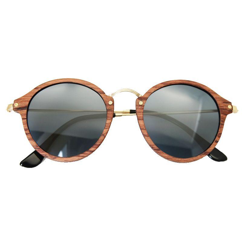Ultralight Women Men Polarized Sunglasses Wooden Round Frame CR39 Lens
