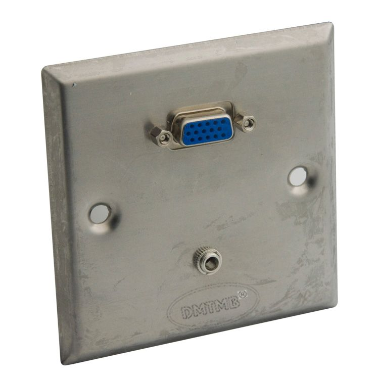 Stainless steel wall plate with VGA and 3.5mm audio female to female connector