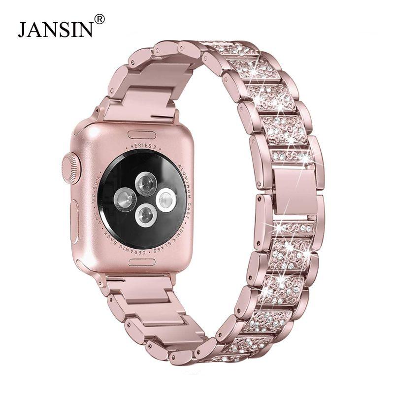 Pour Apple bracelet de montre 40mm 44mm 38mm 42mm femmes diamant bande pour Apple Watch série 4 3 2 1 iWatch bracelet en acier inoxydable bracelet