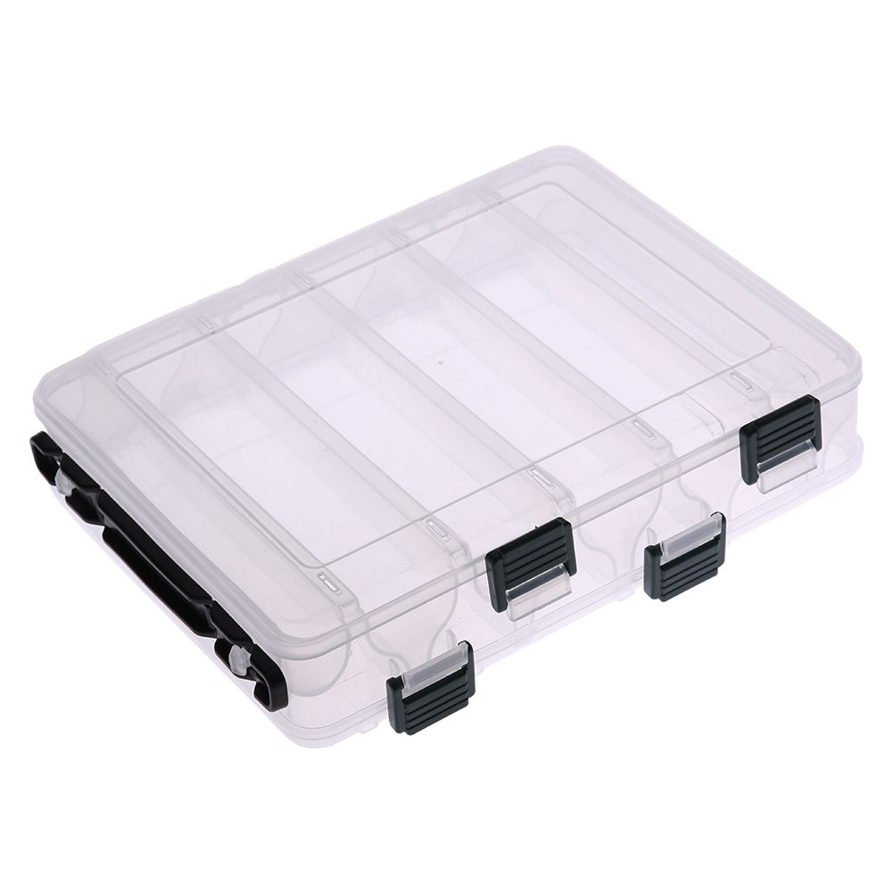 Double Sided 12 Compartment Carp Fishing Box Accessories Lures Bait Storage Box Transparent Shrimp Boxes Fishing Tackle Pesca