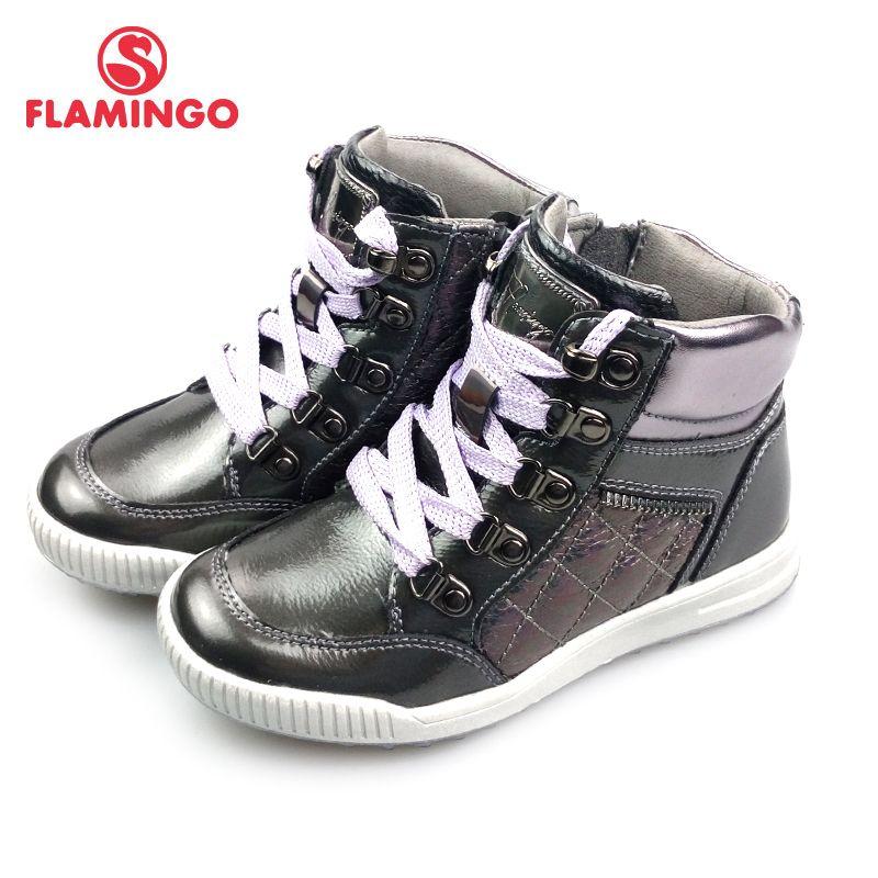 FLAMINGO Herbst Helle Leder Anti-slip Warme Stiefel Hohe Qualität Kinder Marke Mädchen Schuhe Größe 27-32 freies verschiffen 82B-XY-1003