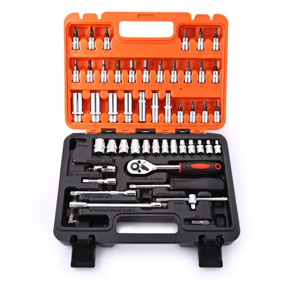 53pcs Car Repair Tools Box Automobile Motorcycle Precision Ratchet Wrench Set Sleeve Universal Joint Hardware Tool Kit for Car