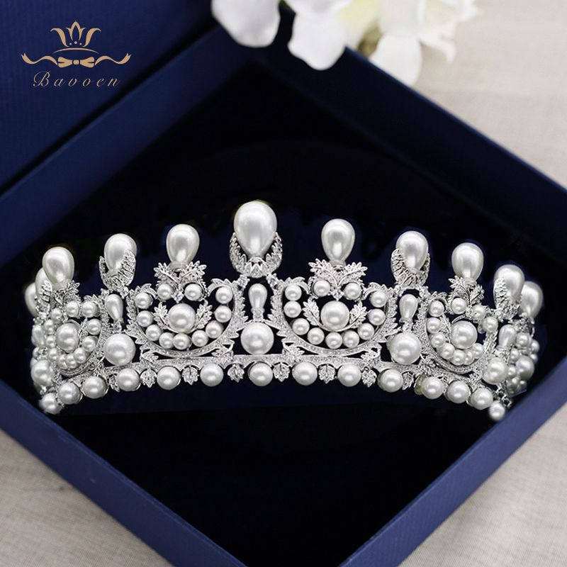Top Quality Royal Queen Full Zircon Tiaras Crowns for Brides Silver Pearls Wedding Hairbands Crystal Wedding Dress Accessories
