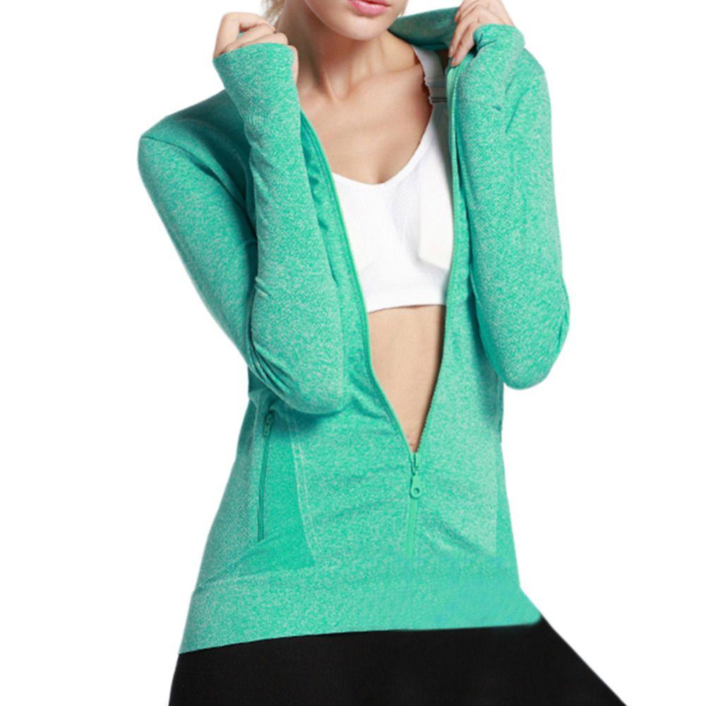 Women 's long - sleeved zipper fitness running yoga jacket moisture - absorbing perspiration quick - drying sports jacket