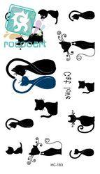 Rocooart HC1183 temporal tatuaje pegatinas hombres y mujeres sexy del cuello detrás gatos personalizado flash tatuajes Tatuajes