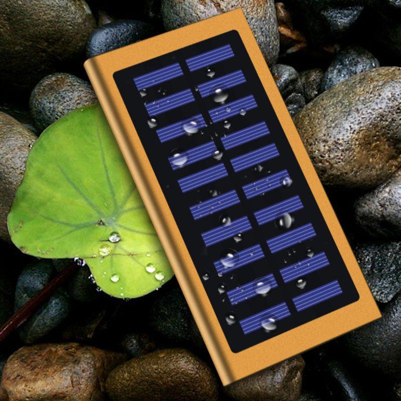 Offre Spéciale 20000 mah Ultra-Mince Solaire Power Bank Caisse de Batterie Externe Pack Double USB Chargeur pour IPhone IPad Tablet pour Xiaomi