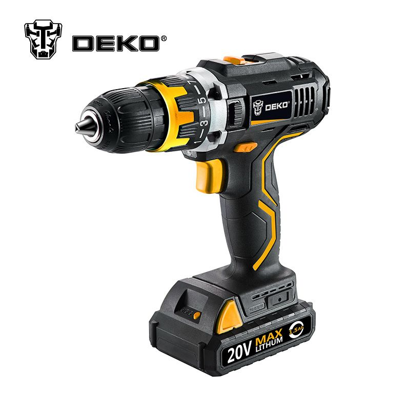 DEKO GCD20DU2 20V DC Household DIY Woodworking Lithium-Ion Battery Cordless Drill Driver Power Tools Electric Drill Power Drill