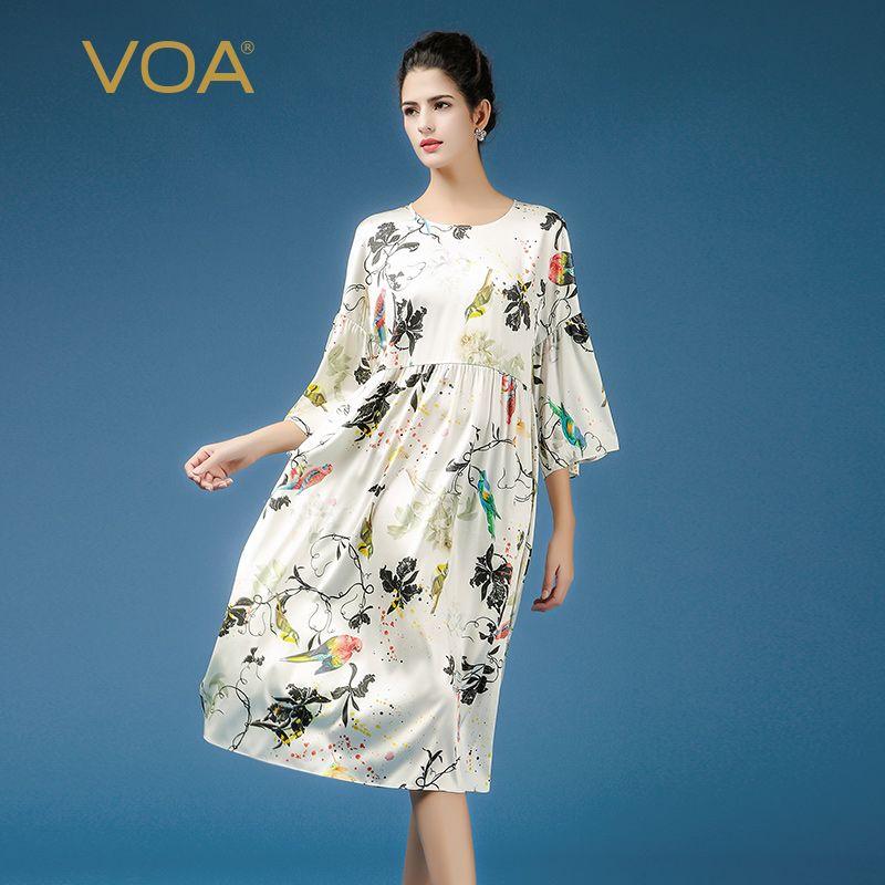 VOA 2018 Spring Summer Flare Sleeve Plus Size Loose Casual Print Dress Cute Flower Harajuku High Waist Women Silk Dress A7362